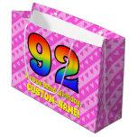 [ Thumbnail: 92nd Birthday: Pink Stripes & Hearts, Rainbow # 92 Gift Bag ]