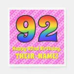 [ Thumbnail: 92nd Birthday: Pink Stripes & Hearts, Rainbow # 92 Napkins ]
