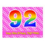 [ Thumbnail: 92nd Birthday: Pink Stripes & Hearts, Rainbow 92 Postcard ]