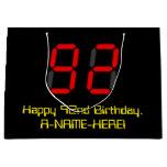 "[ Thumbnail: 92nd Birthday: Red Digital Clock Style ""92"" + Name Gift Bag ]"