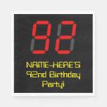 "[ Thumbnail: 92nd Birthday: Red Digital Clock Style ""92"" + Name Napkins ]"