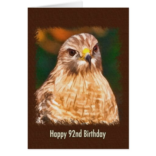 92nd Birthday, Red-shouldered Hawk Greeting Cards