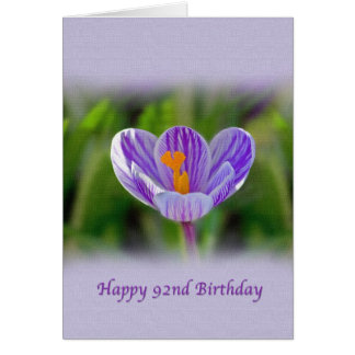 92nd Birthday, Religious, Crocus Flower Card
