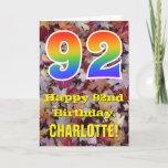 "[ Thumbnail: 92nd Birthday; Rustic Autumn Leaves; Rainbow ""92"" Card ]"