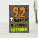 [ Thumbnail: 92nd Birthday: Spooky Halloween Theme, Custom Name Card ]