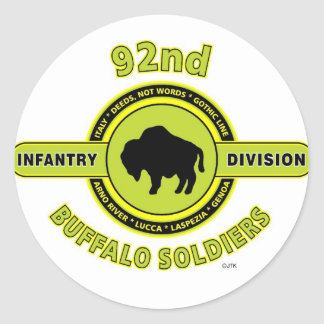 "92nd Infantry Division ""Buffalo Soldiers"" WW II Classic Round Sticker"