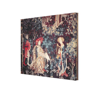 930 The Concert, Tapestry from Arras, 1420 Canvas Print