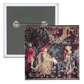930 The Concert, Tapestry from Arras, 1420 Pinback Button