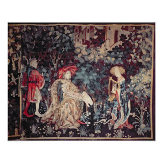 930 The Concert, Tapestry from Arras, 1420 Poster