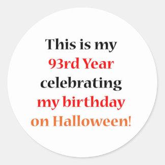93 Halloween Birthday Classic Round Sticker