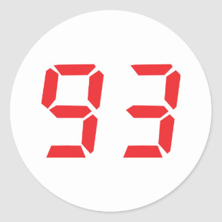 93 ninety-three red alarm clock digital number classic round sticker