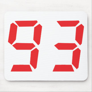 93 ninety-three red alarm clock digital number mouse pad