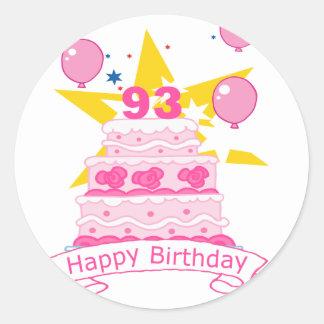 93 Year Old Birthday Cake Classic Round Sticker