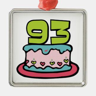 93 Year Old Birthday Cake Metal Ornament