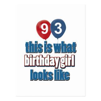 93os diseños del cumpleaños del año tarjeta postal