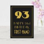 "[ Thumbnail: 93rd Birthday – Art Deco Inspired Look ""93"" & Name Card ]"
