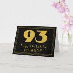 "[ Thumbnail: 93rd Birthday: Art Deco Inspired Look ""93"" & Name Card ]"