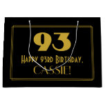 "[ Thumbnail: 93rd Birthday — Art Deco Inspired Look ""93"" & Name Gift Bag ]"