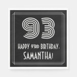 "[ Thumbnail: 93rd Birthday: Art Deco Inspired Look ""93"" + Name Napkins ]"