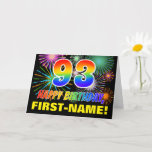 [ Thumbnail: 93rd Birthday: Bold, Fun, Fireworks, Rainbow 93 Card ]