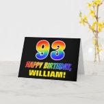 [ Thumbnail: 93rd Birthday: Bold, Fun, Simple, Rainbow 93 Card ]