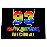 [ Thumbnail: 93rd Birthday: Bold, Fun, Simple, Rainbow 93 Gift Bag ]