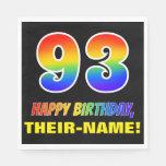 [ Thumbnail: 93rd Birthday: Bold, Fun, Simple, Rainbow 93 Napkins ]