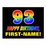 [ Thumbnail: 93rd Birthday: Bold, Fun, Simple, Rainbow 93 Postcard ]
