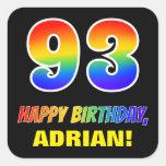 [ Thumbnail: 93rd Birthday: Bold, Fun, Simple, Rainbow 93 Sticker ]
