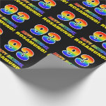 [ Thumbnail: 93rd Birthday: Bold, Fun, Simple, Rainbow 93 Wrapping Paper ]