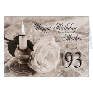 93rd Birthday card for mother,The candle and rose