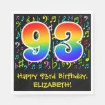 [ Thumbnail: 93rd Birthday - Colorful Music Symbols, Rainbow 93 Napkins ]