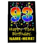 [ Thumbnail: 93rd Birthday: Colorful Stars Pattern & Rainbow 93 Gift Bag ]