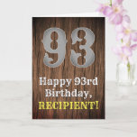 [ Thumbnail: 93rd Birthday: Country Western Inspired Look, Name Card ]