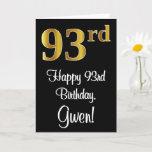 [ Thumbnail: 93rd Birthday ~ Elegant Luxurious Faux Gold Look # Card ]