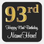[ Thumbnail: 93rd Birthday - Elegant Luxurious Faux Gold Look # Sticker ]