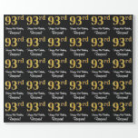 [ Thumbnail: 93rd Birthday: Elegant Luxurious Faux Gold Look # Wrapping Paper ]