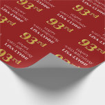 [ Thumbnail: 93rd Birthday: Elegant, Red, Faux Gold Look Wrapping Paper ]