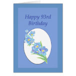 93rd  Birthday Forget Me Not Old Age Memory Humor Greeting Card