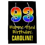 "[ Thumbnail: 93rd Birthday: Fun, Bold, Colorful, Rainbow ""93"" Gift Bag ]"
