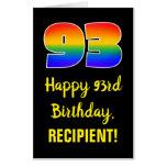 [ Thumbnail: 93rd Birthday: Fun, Colorful, Happy, Rainbow # 93 Card ]