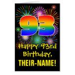 [ Thumbnail: 93rd Birthday: Fun Fireworks Pattern & Rainbow 93 Card ]