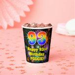 [ Thumbnail: 93rd Birthday: Fun Fireworks Pattern + Rainbow 93 ]