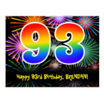 [ Thumbnail: 93rd Birthday – Fun Fireworks Pattern + Rainbow 93 Postcard ]