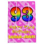 [ Thumbnail: 93rd Birthday: Fun Pink Hearts Stripes; Rainbow 93 Gift Bag ]
