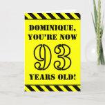 [ Thumbnail: 93rd Birthday: Fun Stencil Style Text, Custom Name Card ]