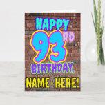 [ Thumbnail: 93rd Birthday - Fun, Urban Graffiti Inspired Look Card ]