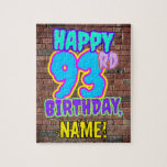 [ Thumbnail: 93rd Birthday ~ Fun, Urban Graffiti Inspired Look Jigsaw Puzzle ]