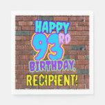 [ Thumbnail: 93rd Birthday ~ Fun, Urban Graffiti Inspired Look Napkins ]