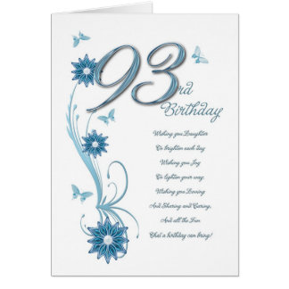 93rd birthday in teal with flowers and butterfly card